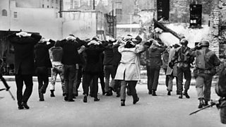 IRA terrorist suspects are rounded up by British soldiers on Bloody Sunday in Londonderry, Northern Ireland when 13 Roman Catholics were killed (30th January 1972)