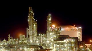 Ammonia plant at night.