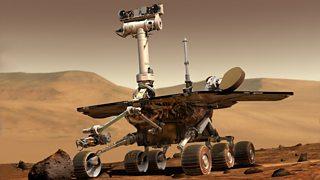 NASA Spirit robot on the surface of Mars.