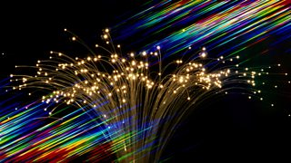 The ends of a bunch of optical fibres