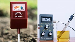 pH meter and probe and a soil meter showing a pH of 7.5