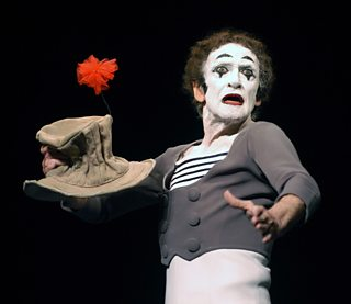 Mime artist Marcel Marceau performs at the Geffen Playhouse, 2002
