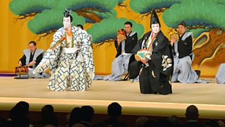 Kabuki actors Onoe Kikugoro and Nakamura Baigyoku performing on stage, 2013