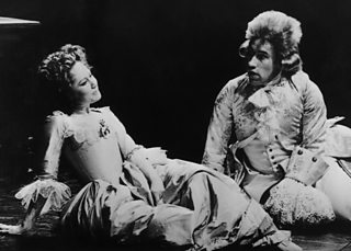 Simon Callow as Mozart and Felicity Kendal as his wife Constanze in a National Theatre production of Peter Shaffer's play Amadeus at the Olivier Theatre, London, January 1980.