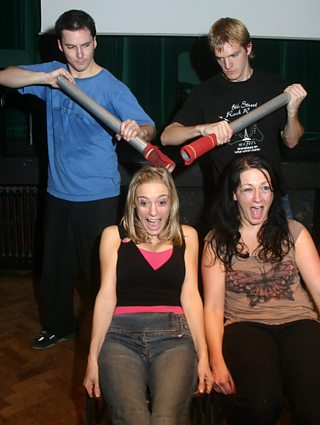 Members of Ape Theatre Company performing in their production Legal Weapon