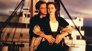 Leonardo DiCaprio and Kate Winslet in s scene from the film Titanic 1997