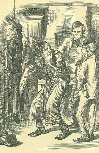 A cartoon showing Disraeli picking Liberal ideas from a pocket