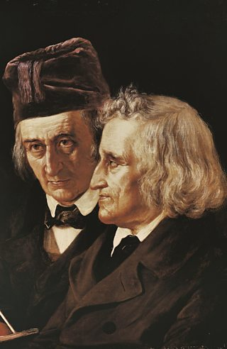 An illustrative portrait of the brothers Jacob and Wilhelm Grimm