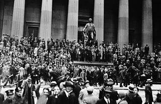 Crowds gather outside Wall Street after the US stock market crash
