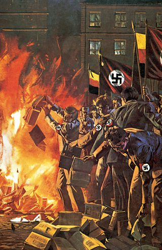 A painting of Nazi book burning