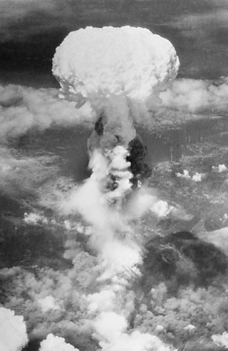 The mushroom cloud over Nagasaki after an atom bomb was dropped by the Americans.