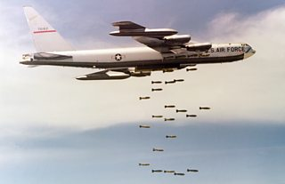 Large bomber deploys payload