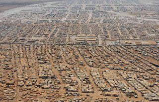 Aerial view of a refugee camp in Syria