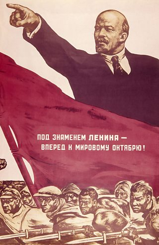 Propaganda poster of Lenin, arm outstretched pointing into the distance. There is a red flag beneath him and group of soldiers with their rifles drawn and bayonets attached.