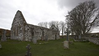 A churchyard and church ruins