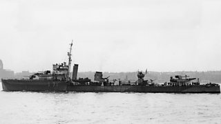A black and white image of the WWII British Destroyer Ship, HMS Volunteer