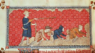 Reaping corn harvest in August, from the Queen Mary Psalter (c.1310-20)