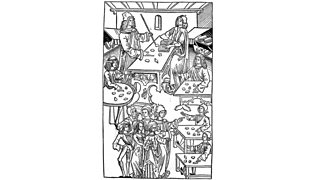 Black and white drawing of gem merchants trading (1491)
