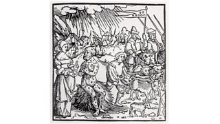 People in a field and a man covered in boils during the Black Death (1346)