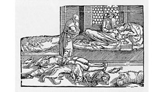 People and animals die of the black death in a field (14th century)