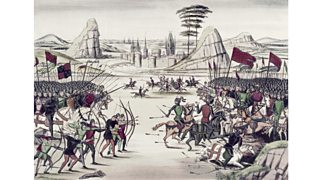 Battle of Poitiers (France) painted by Jean Froissart (14th century)