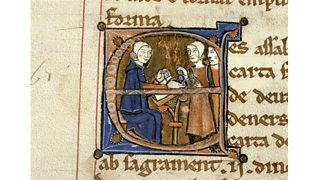 Paying taxes, a painting from a manuscript (13th century)