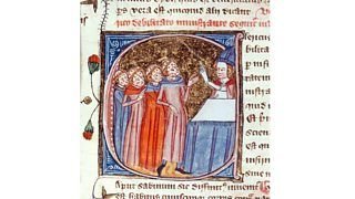 Plague victims blessed by a priest, from 'Omne Bonum' by James le Palmer, 1360-75