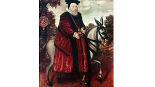 Portrait of William Cecil, 1st Baron Burghley, in crimson robe riding a white mule