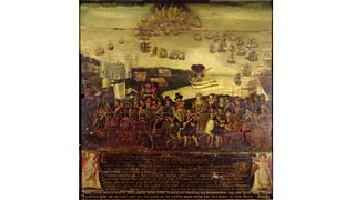 The arrival of Queen Elizabeth I at Tilbury; and the Defeat of the Spanish Armada (17th century)
