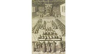 Queen Elizabeth I in Parliament, illustration from 'Robert Glover, Nobilitas politica vel civilis'