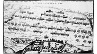 An engraving showing armies meeting at the battle of Naseby