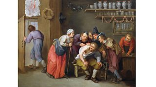 The Quack Doctor's Surgery by Adriaen Rombouts (c.1640-67) showing people gathered around a patient