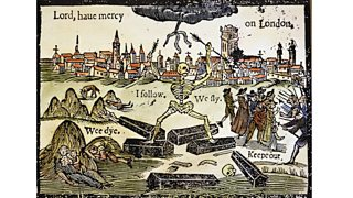Cartoon showing death and the plague taken from a woodcut (17th century)