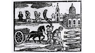 Woodcut depicting gravedigger and man saying, 'Bring out your dead' (17th century)