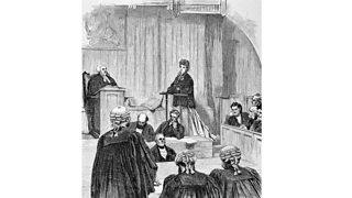 Divorce court scene showing the plaintiff wife in the witness box being questioned by counsel (1870)