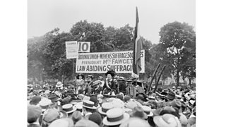 The English suffragette and educational reformer Dame Millicent Fawcett, (1847 - 1929), addressing a meeting in Hyde Park as president of the National Union of Women's Suffrage Societies (1913)