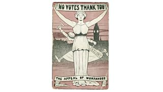 A postcard, captioned 'The Appeal of Womanhood', designed by Harold Bird to announce an anti-suffrage meeting at the Royal Albert Hall