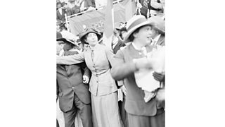 Sylvia Pankhurst, youngest daughter of Emmeline Pankhurst, seen here addressing a massed meeting of suffragettes in Trafalgar Square (28th July 1913)