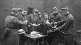 A bunker crew receives music instruments and sundry other items for leisure time activities during the Phoney War