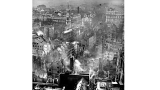 View from St Paul's cathedral showing the ruins of London after the blitz.