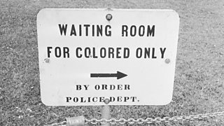 A sign in Mississippi which reads 'Waiting Room For Colored Only by order Police Dept.'
