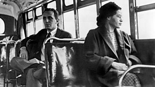 Rosa Parks seated toward the front of the bus in Montgomery, Alabama.