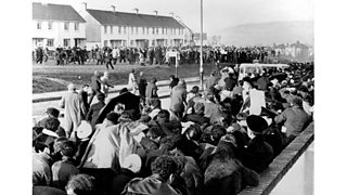 Protestants attacked a civil rights march near Derry in January. After fierce rioting, O'Neill resigned. In August British troops were sent to Derry and then to Belfast. The death toll mounted