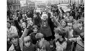 Protestant women and children in east Belfast, reacting to the news that Ulster's power-sharing executive had collapsed (28th May 1974)