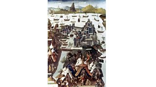 The siege of Constantinople by the Turks in 1453 from a French manuscript (15th century)