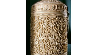 An ivory casket made for Caliph Hakam 11 for his concubine, Lady Subh. The design incorportes peacocks and antelopes. Spain (1050 AD)