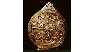Inlaid brass astrolabe from Cairo, an instrument for observing and computing time, direction and position. It could be used for navigation, astronomy and astrology. Egypt (1236 AD)