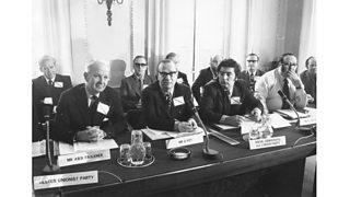 Brian Faulkner, Gerry Fitt and John Hume during talks at Sunningdale, Berkshire, to establish a Council of Ireland. (6th December 1973)