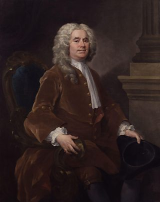 Portread o'r mathemategydd William Jones, gan William Hogarth, 1740