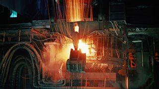 Molten steel in blast furnace